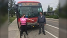 "Calgary Transit driver Ernie Watts with Meagan Filteau, who flagged down his bus July 29 when she was being chased and gave her a ride to safety. ""He's my hero,"" said Filteau."