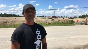 Skylar Williams is part of a group protesting at a housing development site in Caledonia (Stephanie Villella / CTV News Kitchener)