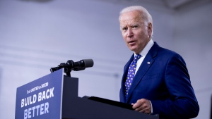 In this July 28, 2020, file photo, Democratic presidential candidate former Vice President Joe Biden speaks at a campaign event at the William 'Hicks' Anderson Community Center in Wilmington, Del. (AP Photo/Andrew Harnik, File)
