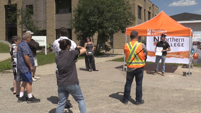 Program assistant at the mining program, Emily Disley, said safety was one of the core elements of the students' training — and they got to learn it hands-on in the field. Aug.7/2020 (Sergio Arangio/CTV News Northern Ontario)