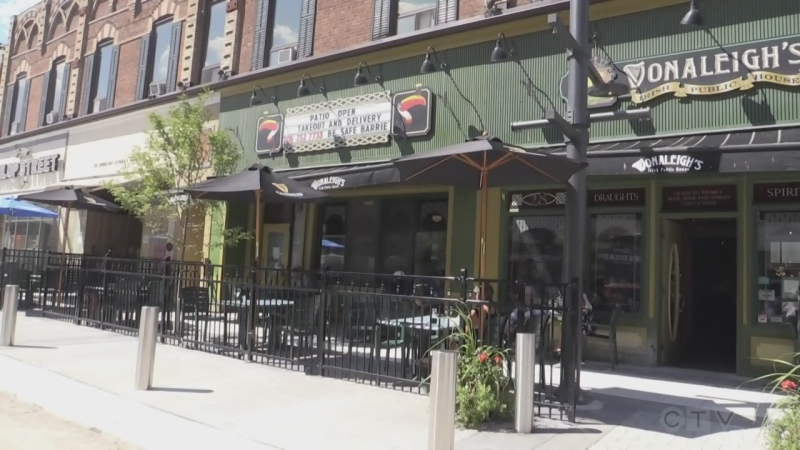 The front patio at Donaleighs Irish Public House on Dunlop St in Barrie, Ont. on Friday August 7, 2020 (Aileen Doyle/CTV News)