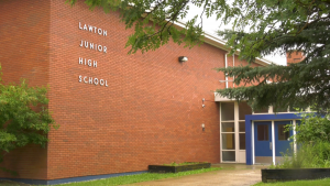 Lawton School, in Edmonton's Beverly Heights neighbourhood, was closed in 2017. Edmonton Public Schools says it made a commitment then to engage the community before any decision was made on repurposing the building.