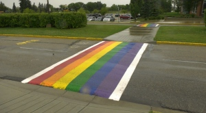 Pride crosswalk at Red Deer College.