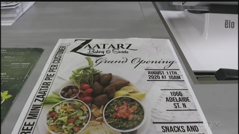 Zaatarz Bakery is using its grand opening as a fundraiser for those affected by the recent explosion in Beirut. (Brian Snider / CTV News)