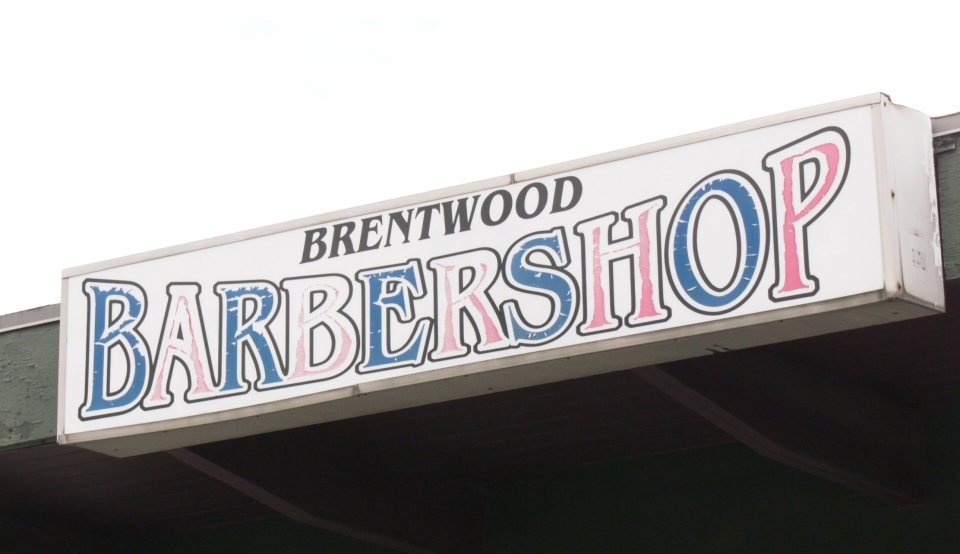 The Brentwood Barber Shop on Vancouver Island is shown.