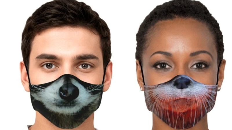 The masks for sale in Critter Care Wildlife Society's recently launched online store depict the noses and mouths of animals that recently spent time in the facility's care, including a raccoon, an otter and a black bear. (crittercarestore.org)