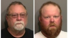 This photo combo of images taken Thursday, May 7, 2020, and provided by the Glynn County Detention Center, in Georgia, show Gregory McMichael, left, and his son Travis McMichael. (Glynn County Detention Center via AP)