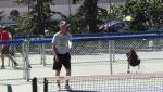 Glenn Stumborg, a board member with Saskatoon Pickleball Inc., plays on an outdoor pickelball court in Saskatoon on Aug. 8, 2020 (Chad Leroux/CTV Saskatoon)