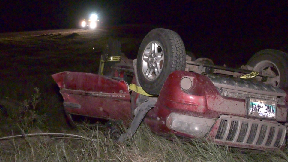 Several cars were thrown by a tornado near Virden, Man,. killing two people. (Source: CTV News/Danton Unger)