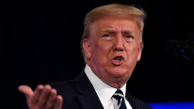 U.S. President Donald Trump speaks at Trump National Golf Club Bedminster in Bedminster, N.J., Friday, Aug. 7, 2020. (AP Photo/Susan Walsh)