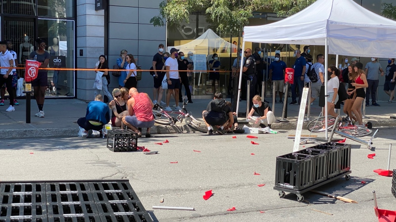 Two women were injured in a hit-and-run in downtown Montreal on Saturday. Police said a 22-year-old man has been taken into custody. (Photo: John R. Kennedy)