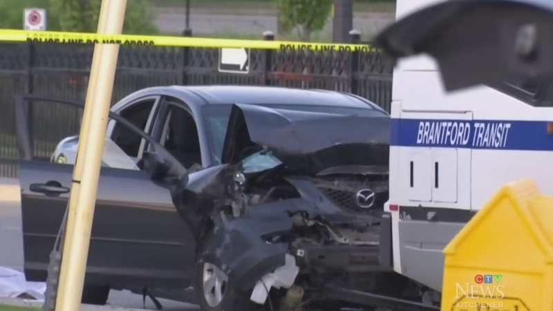 Large wreckage from fatal bus and car collision