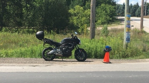 The aftermath of a motorcycle crash in Clearview Twp, Ont. on Saturday August 8, 2020 (Dave Sullivan/CTV News)