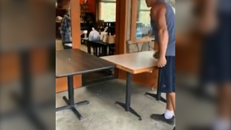 A customer at a Chinese restaurant in B.C.'s Interior was caught on video screaming obscenities and berating the restaurant's staff for allegedly taking too long with his order Friday night. (Amanda Toms/Facebook)