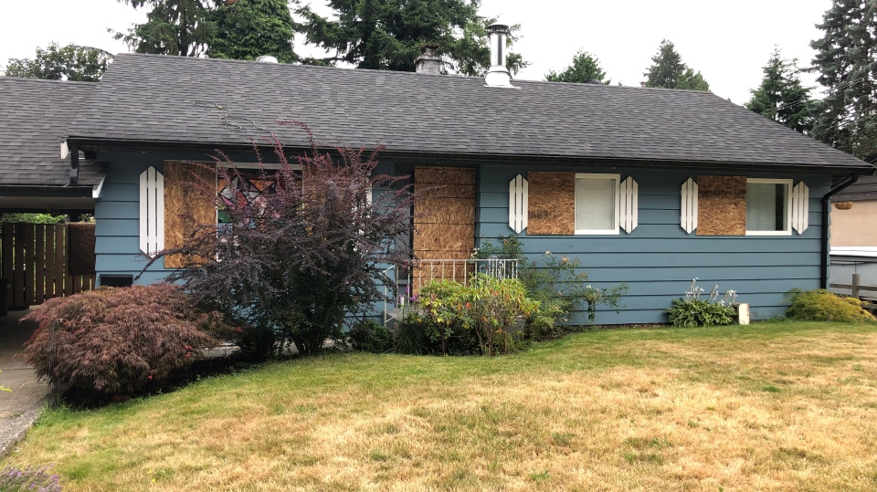 Maple Ridge home boarded up