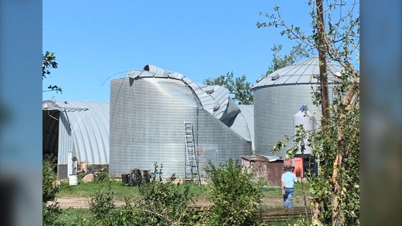 Several grain bins were destroyed after a tornado tore through Scarth, Man. (Danton Unger/CTV News)