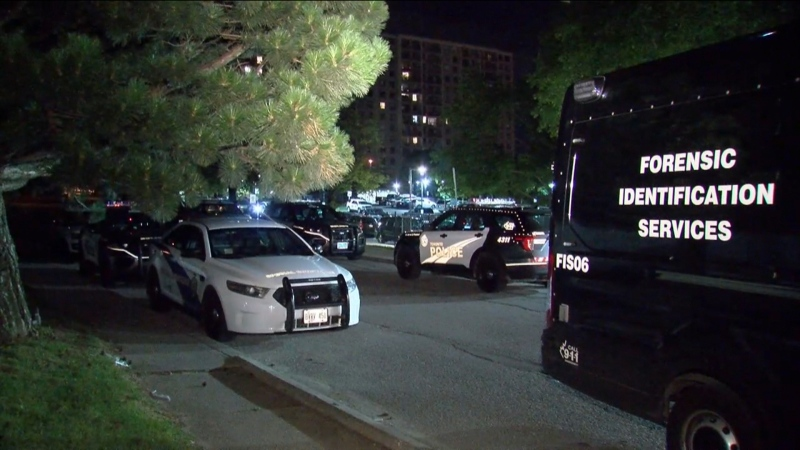 Police are seen at 50 Tuxedo Court after a stabbing on Aug. 9, 2020. (CP24)
