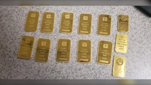U.S. Customs and Border Patrol shared this image of gold bars they seized from a woman who they say illegally crossed the Canada-U.S. border. (U.S. Customs and Border Patrol)