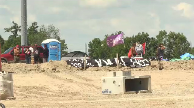A camp of protesters reclaiming a housing development in Caledonia. (Photo: Johnny Mazza - CTV Kitchener) (Aug. 8, 2020)