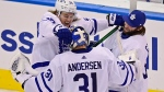 Toronto Maple Leafs' William Nylander (88), Frederik Andersen (31) and Jack Campbell (36) celebrate their victory over the Columbus Blue Jackets in NHL Eastern Conference Stanley Cup playoff action in Toronto on Friday, August 7, 2020. (Frank Gunn/The Canadian Press)