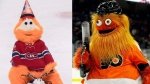 For the first time in playoff history, the Montreal Canadiens' Youppi! will be cheering against the Philadelphia Flyers' Gritty. (THE CANADIAN PRESS/Graham Hughes) (AP Photo/Tom Mihalek, File)