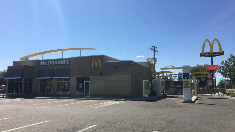 A McDonald's in Brandon, Man. is closed for cleaning after an employee was presumed to be positive for COVID-19. (Source: CTV News/Zach Kitchen)