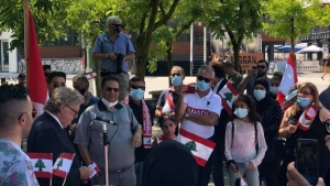About 50 people attended a rally in Victoria Park on Sunday, Aug. 9, 2020 to support the people of Lebanon.