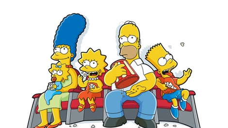 Marge (voiced by Julie Kavner), Maggie, Lisa (voiced by Yeardley Smith), Homer (voiced by Dan Castellaneta) and Bart (voiced by Nancy Cartwright) in 20th Century Fox's 'The Simpsons Movie'