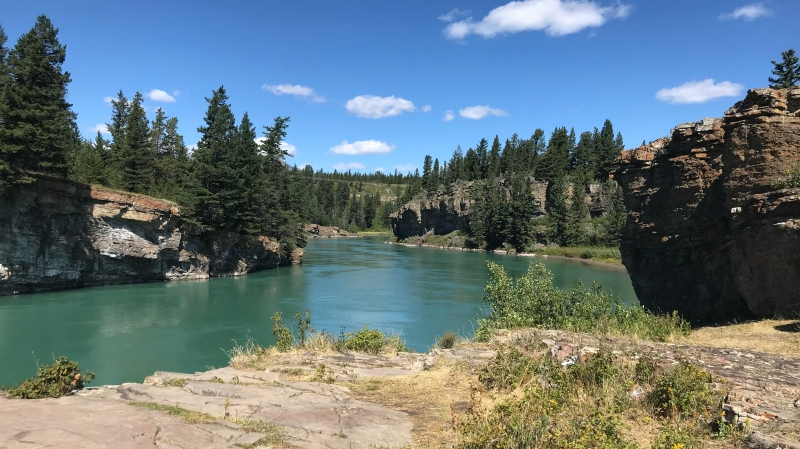 This waterway downstream of the Seebe Dam has become a hot spot for trespassers, and the site of a recovery operation after a 16-year-old boy drowned Saturday afternoon. Cochrane RCMP want others to keep off the private property that's not meant for swimming.