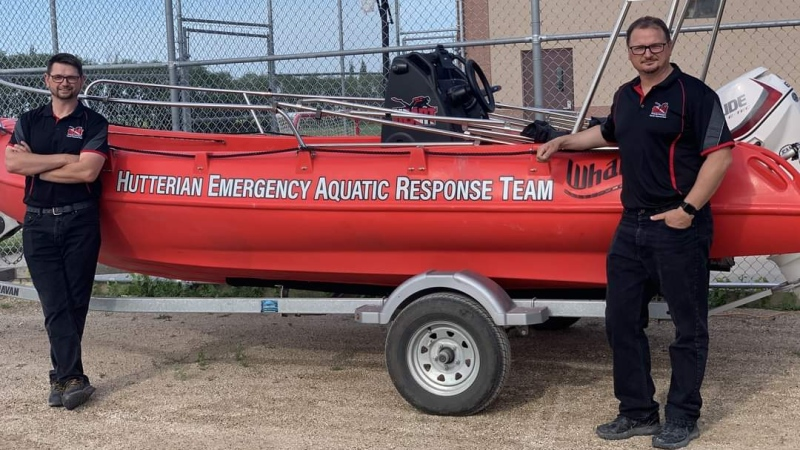 Paul and Manuel Maendel with the Hutterien Emergency Aquatic Response Team. (Facebook/Hutterien Emergency Aquatic Response Team)