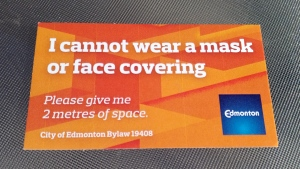 Mask exemption cards being issued to Edmonton residents.