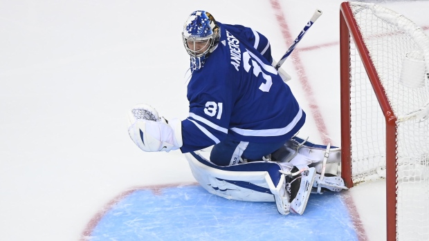 Toronto Maple Leafs goaltender Frederik Andersen (31) looks back at the puck as Columbus Blue Jackets defenceman Zach Werenski, not shown, scores during first period NHL Eastern Conference Stanley Cup playoff action in Toronto on Sunday Aug. 9, 2020. THE CANADIAN PRESS/Nathan Denette