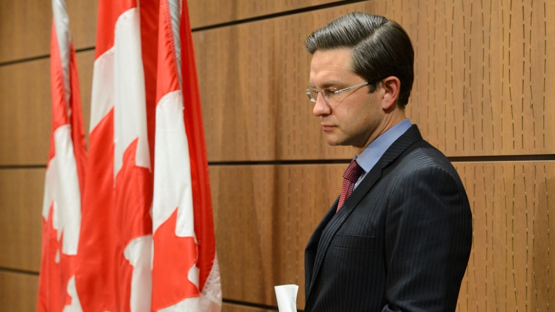 Conservative MP Pierre Poilievre holds a press conference on Parliament Hill in Ottawa on July 29, 2020. THE CANADIAN PRESS/Sean Kilpatrick