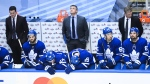 Toronto Maple Leafs coach Sheldon Keefe, Back, and players react in the final moments of the game as they would go on to be defeated by the Columbus Blue Jackets during third period NHL Eastern Conference Stanley Cup playoff action in Toronto on Sunday, August 9, 2020. THE CANADIAN PRESS/Nathan Denette