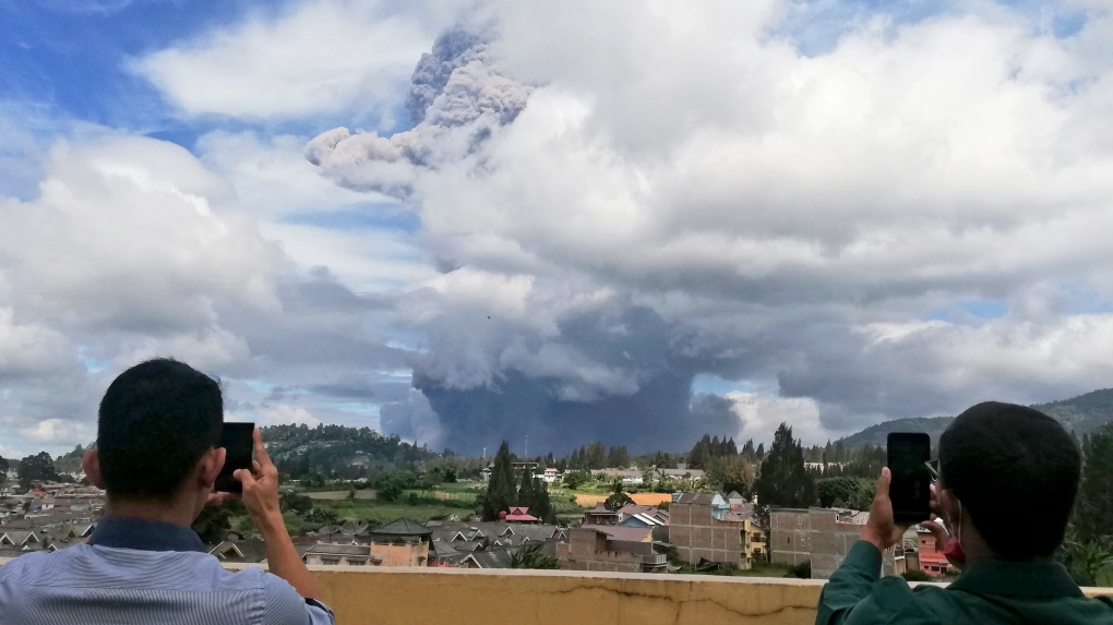 Indonesia's Sinabung volcano ejects towering column of ash