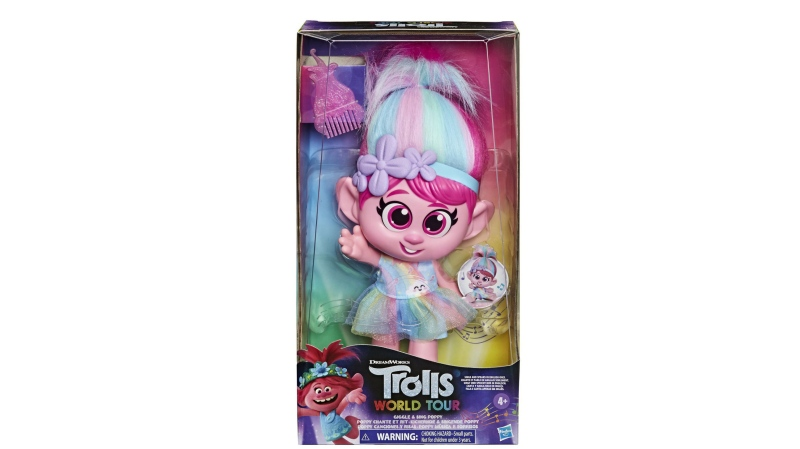 "Hasbro is removing the ""Trolls World Tour Giggle and Sing Poppy"" doll from stores amid complaints that the button under her skirt is inappropriately placed. (Credit: Walmart)"