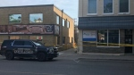 Police guard the scene of a shooting in downtown Strathroy on Monday, Aug. 10, 2020. (Sean Irvine / CTV London)