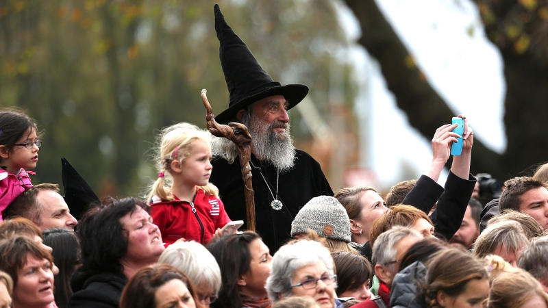 The Wizard waits for the arrival of Prince William and Kate during their royal visit to Christchurch on April 14, 2014. (Martin Hunter/AFP/Getty Images/CNN)