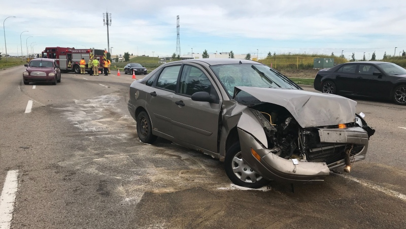 Several people were taken to hospital with unknown injuries after a two-vehicle collision on Aug. 10.