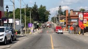 Emergency crews respond to a gas leak in Elmira on Aug. 10, 2020 (Dave Pettitt / CTV News Kitchener)