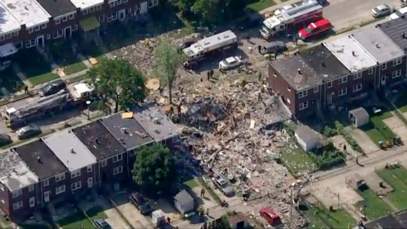 This photo provided by WJLA-TV shows the scene of an explosion in Baltimore on Monday, Aug. 10, 2020. (WJLA-TV via AP)