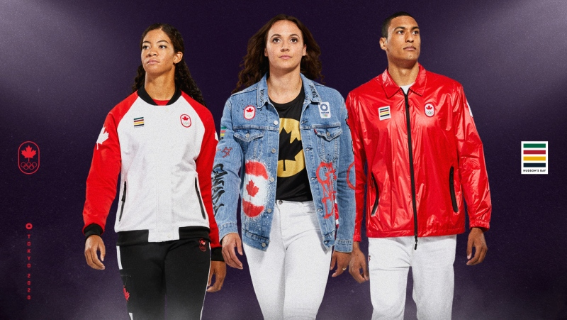 Sarah Douglas (Sailing), left to right, wearing a podium outfit, Kylie Masse (Swimming), wearing a closing ceremony outfit, and Pierce Lepage (Athletics), wearing an cpening ceremony outfit. (THE CANADIAN PRESS/HO-Canadian Olympic Committee, Finn O'Hara)