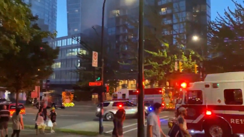 A two-alarm fire at a downtown Vancouver office building led to hours of road closures on Aug. 9, 2020.
