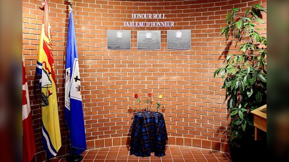 The Fredericton Police Force has dedicated its Honour Roll at police headquarters to the memory of three fallen officers. (Fredericton Police Force)