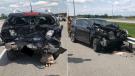 Ottawa paramedics responded to two separate collisions on Highway 417 near Palladium Drive Aug. 10, 2020. (Photos courtesy of Ottawa Paramedic Service)