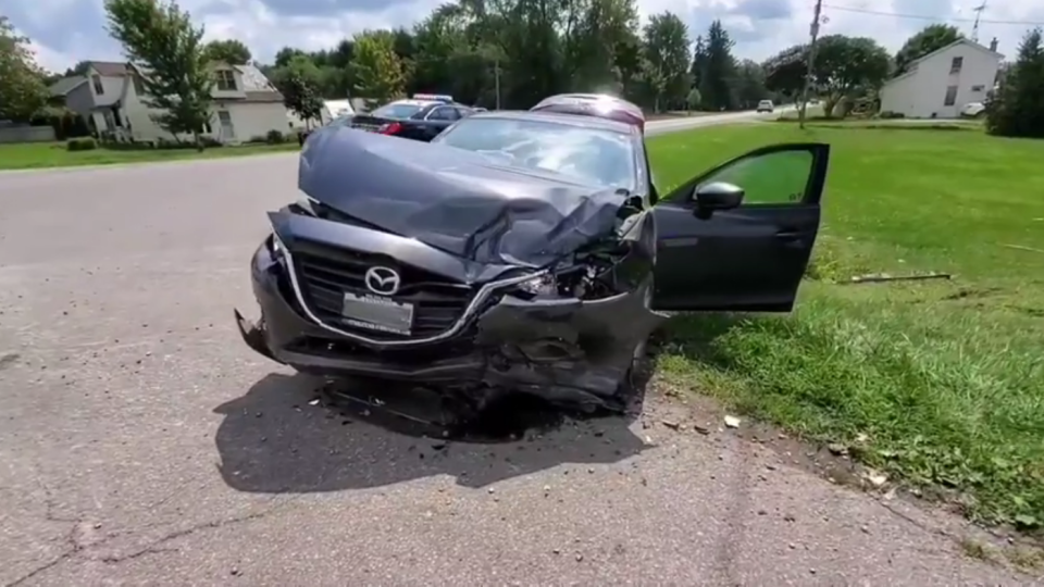 A crash at Cockshutt Road and Concession 8 in Norfolk County, Ont. on Monday, Aug. 10, 2020. (Source: OPP)