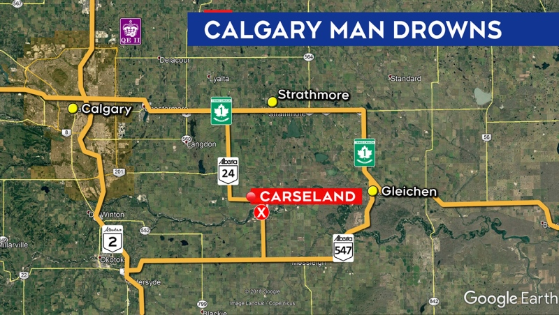 Crews searched the Bow River near Carseland on Monday after a man failed to return to shore during a Sunday swim. RCMP officials confirm a body has been recovered. (Google Earth)