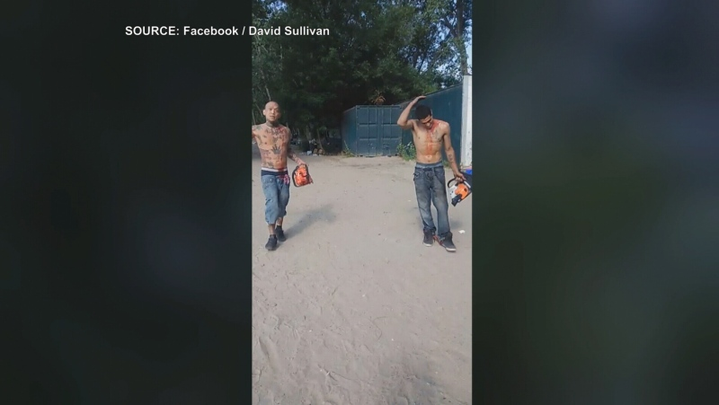 Police have charged two men in connection with an incident that occurred at a popular Toronto beach involving  chainsaws.