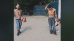 Two men arrested Sunday in the area of Toronto's Cherry Beach after a fight menaced a number of passersby with working chainsaws before they were captured by police, an eyewitness says. (Facebook/David Sullivan)