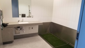 The pet relief area located in the new new washroom facilities at the Victoria International Airport is shown: (Victoria International Airport / Twitter)